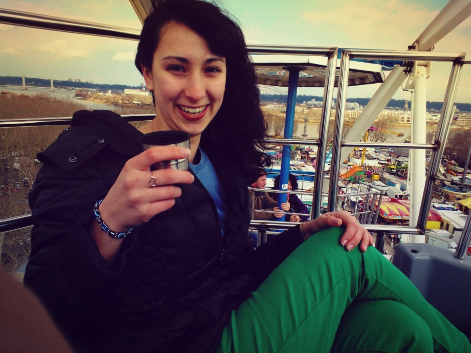 Drinking tea on a ferris wheel