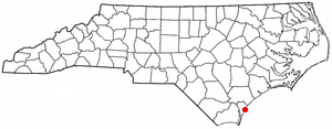 This is a map of North Carolina. And yeah, you guessed it. The red dot is the island.