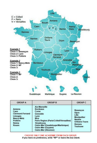 You can only choose one of each of the regions to be placed in. So, for example, you can't choose Paris and Bordeaux as a choice option.