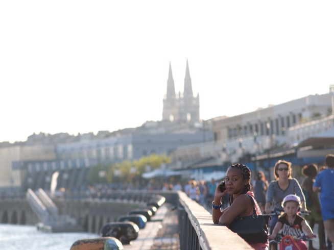 The quai and all the people when the weather is beautiful.